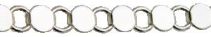 Armbandslänk metervara. Försilvrad vitmetall. Plattor 9,2 mm . Säljs per 1/2 meter