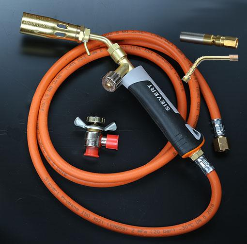 Brännare för gasol. Komplett även för små lödningar.  Sievert Pro 86 uppgraderad med minsta munstycket 8 mm.
