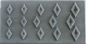 """Form romber. 6x12 cm Använd för att göra dekorationer med """"överbliven lera""""."""
