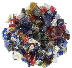 Blandade färger och storlekar av transparent emalj i bitar. 40 gram