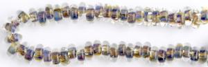 Glasringpärlor 25st iriserande duvblått, brunt och grönt, typ donut
