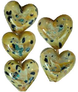 Glaspärlor 5st, Hjärta spring green dichro.
