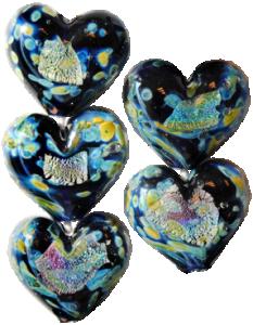 Glaspärlor 5 st, Hjärta Stjärnnatt Dichroisk