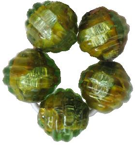 Glaspärlor 5st Coconut grön Dichroic