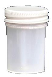 Plastburk med metallock för att förvara eller blanda färg.
