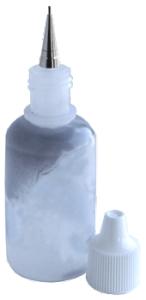Flaska med rostfri sprutspets med litet hål