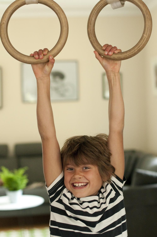Gymnastikringar med lösa remmar (två storlekar