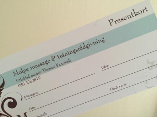 Presentkort Molpe massage&träningsrådgivning 60min