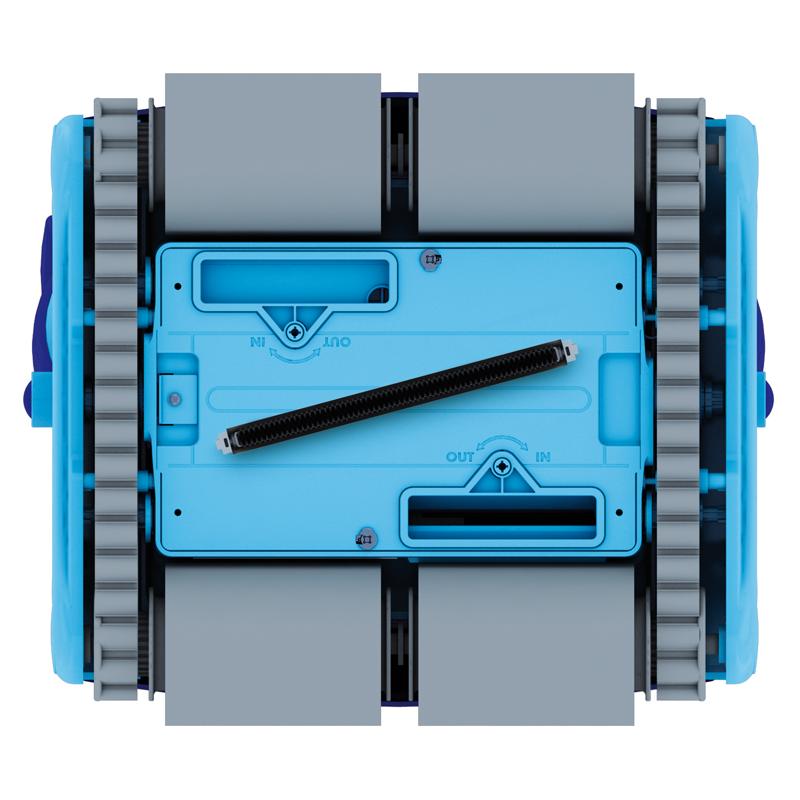 Poolrobot Pulit Advance+ 3 och advanced+ 5 med gyro teknik tredimensionella filter och dubbla drivmotorer. Detaljer undersida