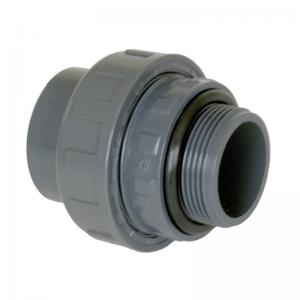 """PVC Union 50mm lim till 1½"""" 3 delar med o-rings tätning"""