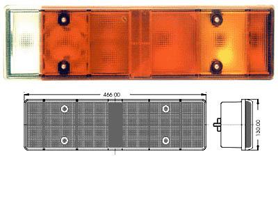 Scania HE Reservglas för Artikelnr: 310-27609, 310-27610 466x130mm