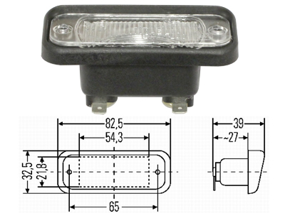 Volvo Registreringsskylts belysning infälld montering  83x33mm