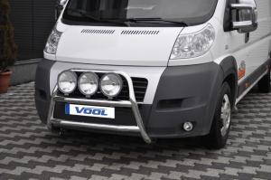 Fiat Ducato 2007-2012 -MODELL STOR- Rostfri frontbåge med fästen för extraljus