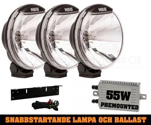 3-pack NBB225 55W Snabbstart Xenon extraljus - Premounted