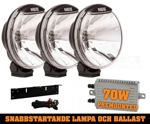 3-pack NBB225 70W Snabbstart Xenon extraljus - Premounted