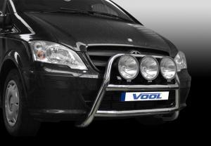 Mercedes Vito / Viano 2011 -MODELL STOR TRIO- Rostfri frontbåge med fästen för extraljus