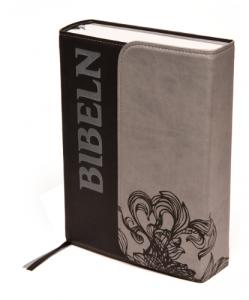 bibel 2000 - svart/grå konstskinn med magnetlås 195x150x47mm
