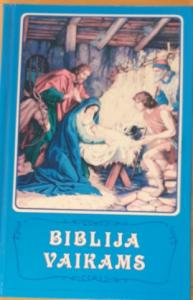 Barnbibel, litauiska blå, inbunden, 190x125x25 mm