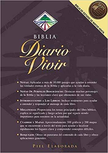Biblia RVR 1960. Diario Vivir. Brun, stort format, inbunden.