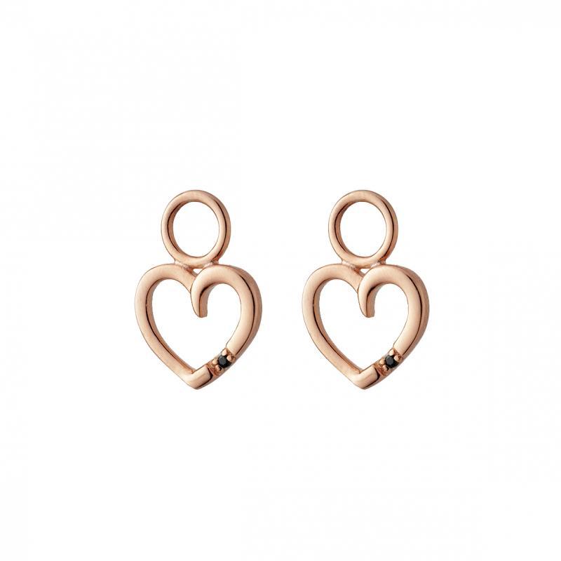 Hjärtan i silver 925, förgyllda med roséguld