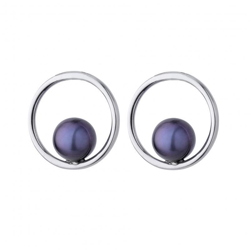 Silverringar med runda mörka pärlor