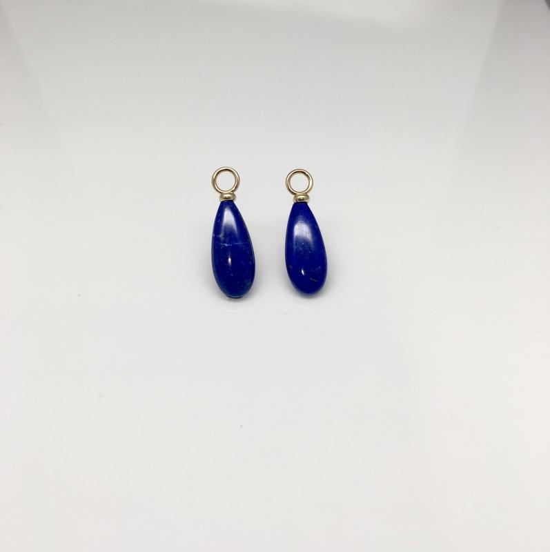 Långa droppar av Lapis Lazuli med 18k guldögla