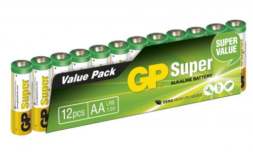 GP Super Alkaline AA-batteries, 15A/LR6, 12-pac