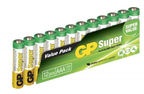 GP Super Alkaline AAA-batteri, 24A/LR03, 12-pack