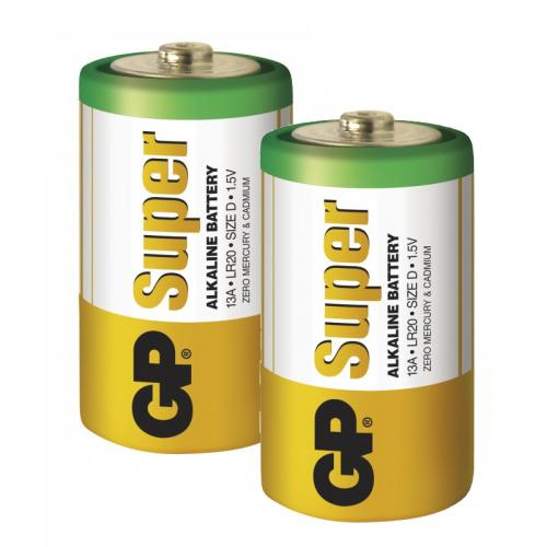 GP Super Alkaline D-batteri, 13A/LR20, 2-pack