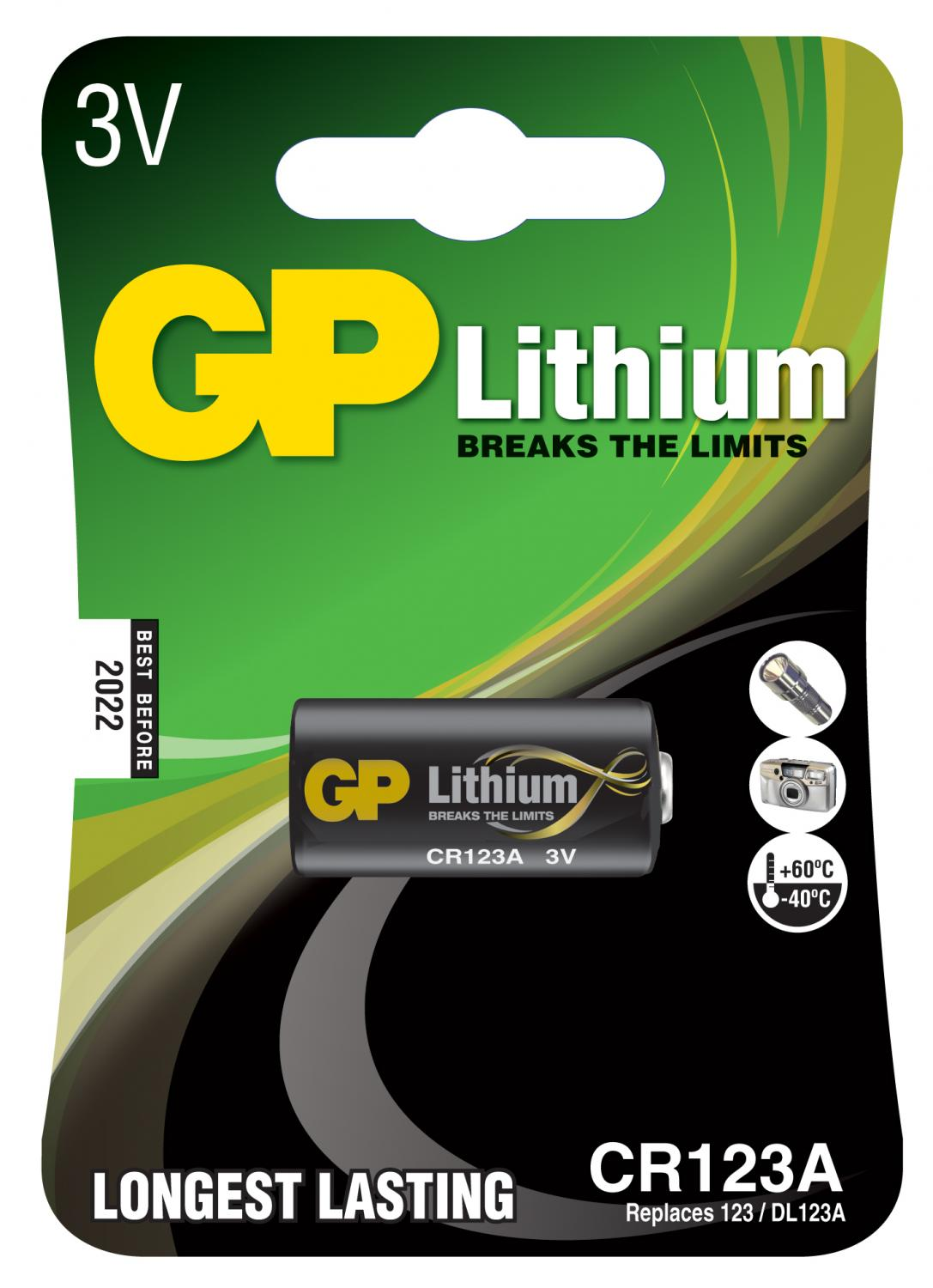 GP photobattery, Lithium, CR 123A-C1, 1-pac