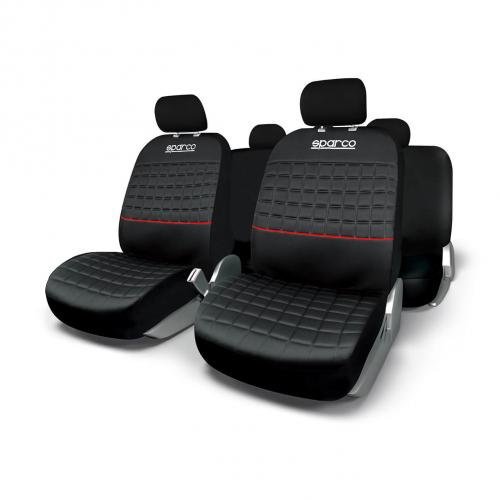 Sparco Universal Seat Cover Set Lazio Polyester Black/Red