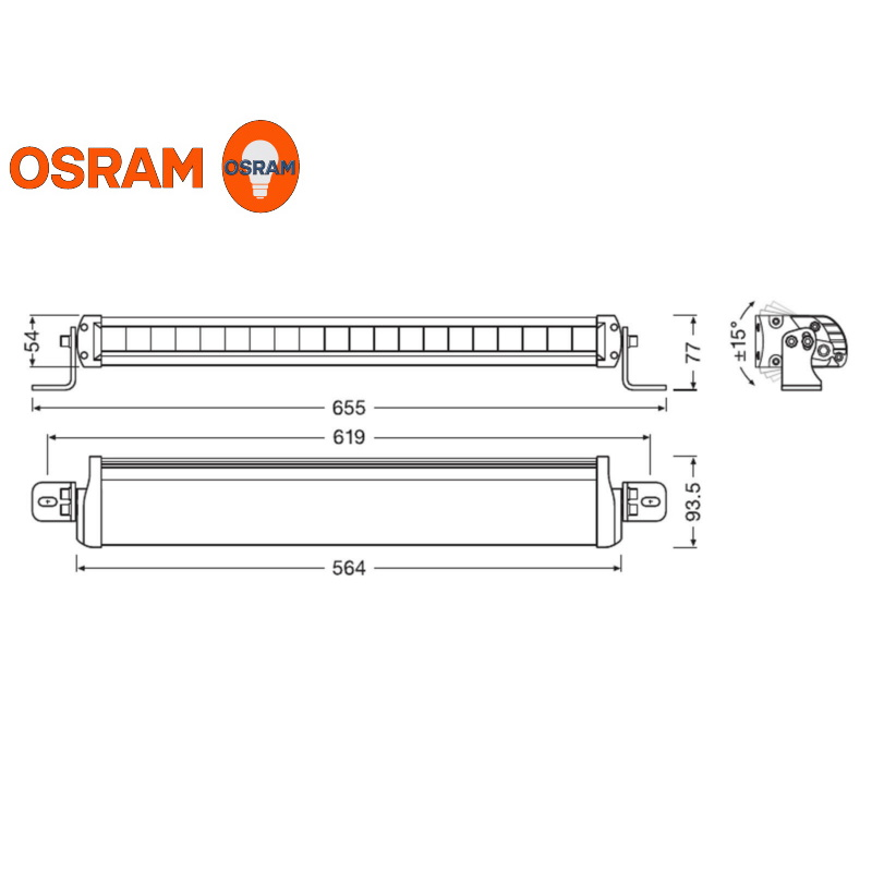 LED-ramp Osram LEDriving FX500 Spot 564mm E-märkt