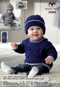 Flätstickad babytröja och mössa