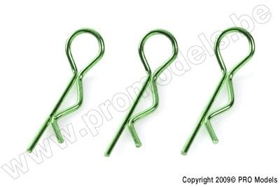 "Body Clips 1/8 ""Green"", Large, 45° Bent (10Pcs)"