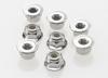 Nuts, 4mm flanged nylon locking (steel, serrated)