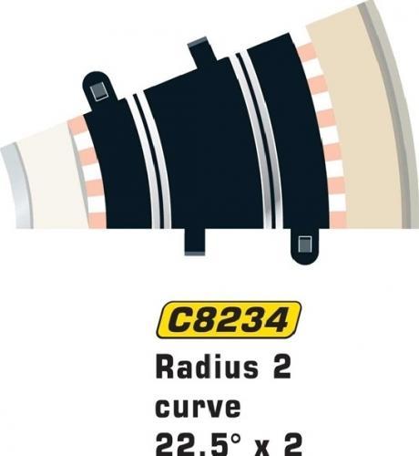 Scalextric Rad 2 Half Std Curve 22.5° 2st