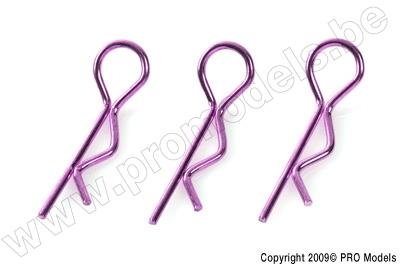 """Body Clips 1/8 """"Purple"""", Large, 45° Bent (10Pcs)"""