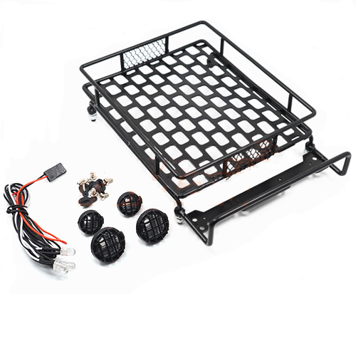 Roof luggage rack with LED light bar for 1/10 crawler