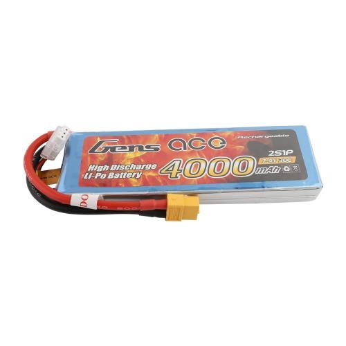 GENS ACE BATTERY LIPO 2S 7.4V-4000-30C(XT60) 138X42X16MM 206G