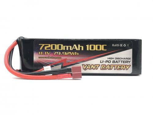 Vant 11.1v 100c 7200mah battery med Deans-kontakt