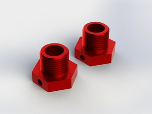 ALUMINIUM WHEEL HEX (RED) (2PCS)