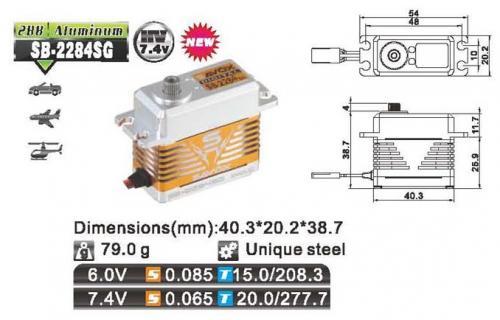 Savox Servo SB-2284SG Brushless 6V/7.4V std.size 0.065 speed/20k