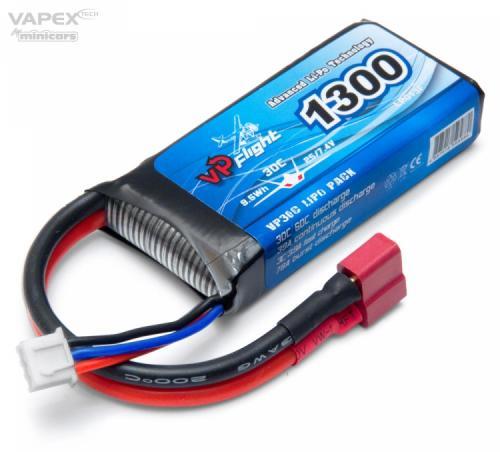 Vapex Li-Po Batteri 2S 7,4V 1300mAh 30C T-Kontakt