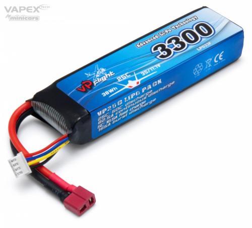 Li-Po Batteri 3S 11,1V 3300mAh 25C T-Kontakt/Deans