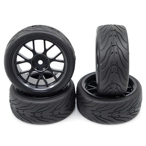 Yeah Racing Spec T CS Wheel 3 black rim, rubber wheels