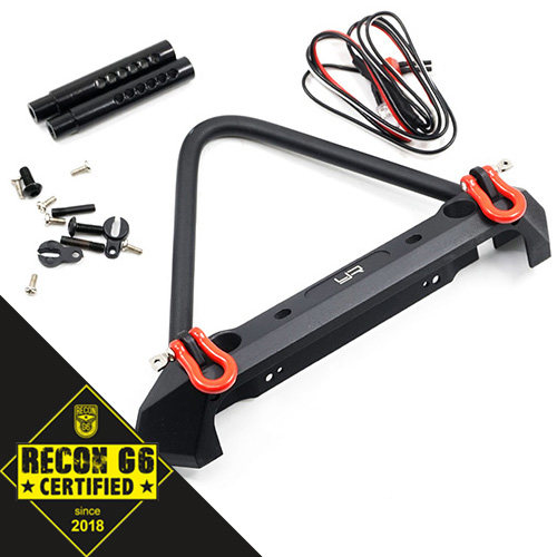 Aluminum Alloy Front Bumper w/ LED Light For Axial SCX10 II Traxxas TRX-4