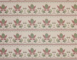 Rosa och grön bård B100-3 Arvika Tapet AB med blommor och fåglar