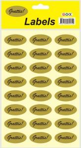 Stickers oval Grattis guld 24st