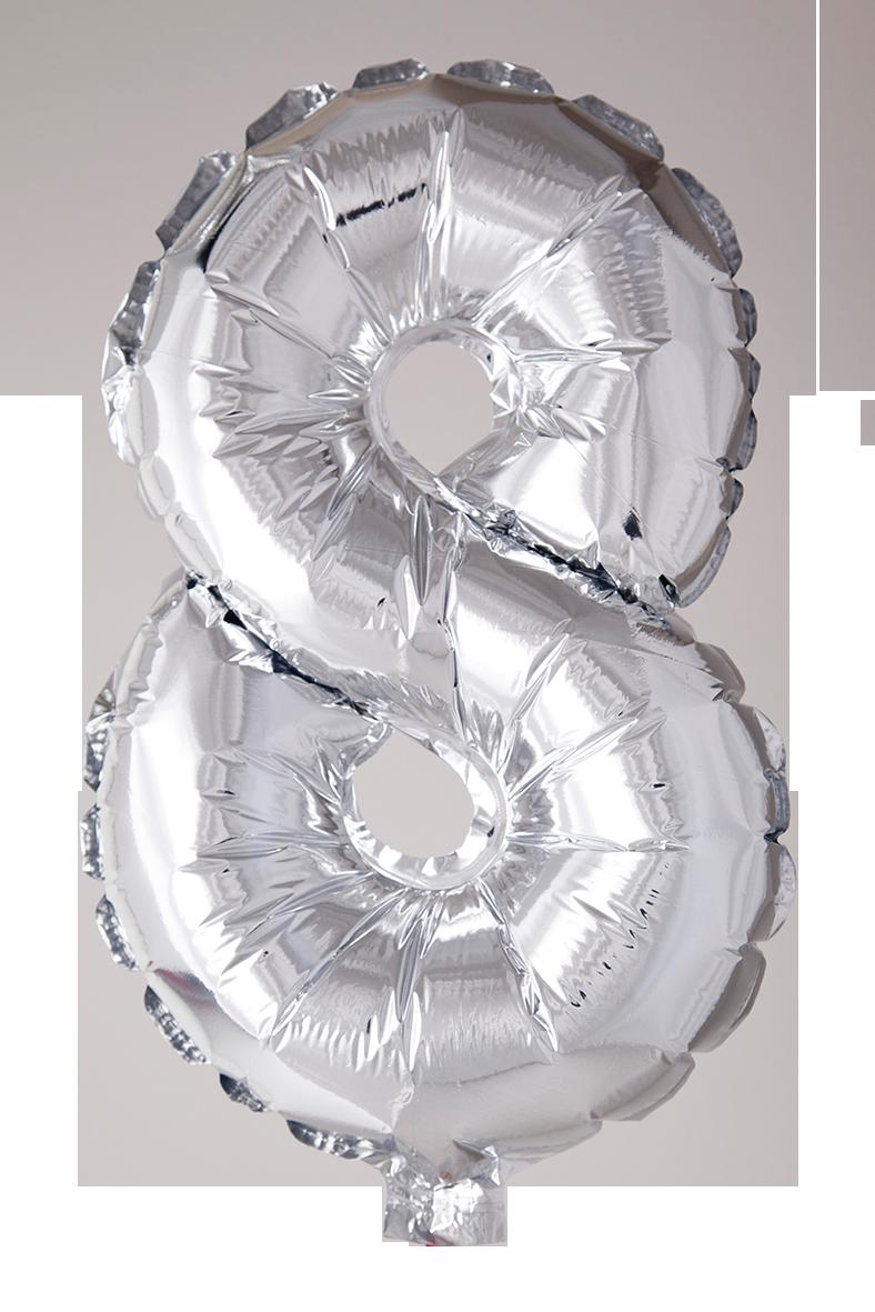 Folieballong 102 cm siffra 8