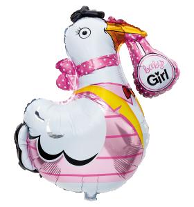Folieballong Stork rosa